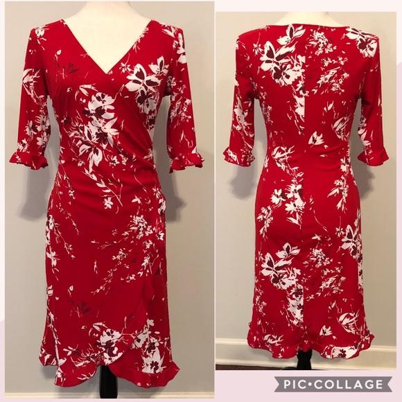 36794587e Jodi Kristopher Dresses & Skirts - Jodi Kristopher Faux Wrap Red Floral  Dress